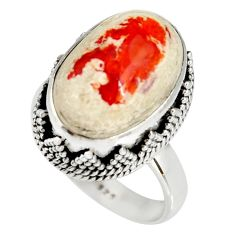 925 silver 10.33cts natural mexican fire opal oval solitaire ring size 7 r19280
