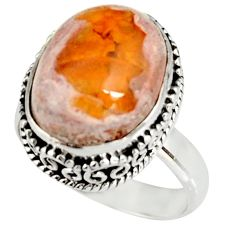 925 silver 8.03cts natural mexican fire opal solitaire ring size 7.5 r19268
