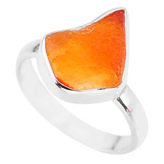 925 silver 6.18cts natural mexican fire opal solitaire ring size 8.5 r91638