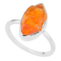 925 silver 5.22cts natural mexican fire opal solitaire ring size 7.5 r91673