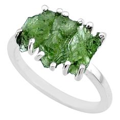 925 silver 7.87cts natural moldavite (genuine czech) 3 stone ring size 7 r71960