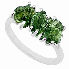 925 silver 7.96cts natural moldavite (genuine czech) 3 stone ring size 8 r71944