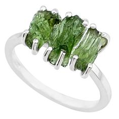 925 silver 8.33cts natural moldavite (genuine czech) 3 stone ring size 8 r71957
