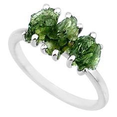 925 silver 7.98cts natural moldavite (genuine czech) 3 stone ring size 8 r71977