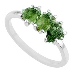 925 silver 7.50cts natural moldavite (genuine czech) 3 stone ring size 9 r71974