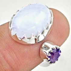 925 silver 7.60cts natural moonstone amethyst adjustable ring size 5.5 t43531