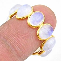 925 silver 9.05cts natural moonstone oval 14k gold eternity ring size 7.5 t44049
