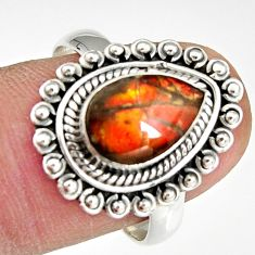 925 silver 2.81cts natural multi color ammolite solitaire ring size 8.5 r19225