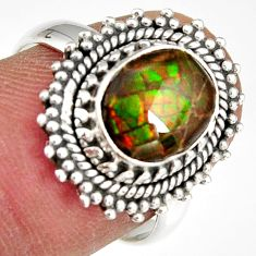 925 silver 3.19cts natural multi color ammolite solitaire ring size 7 r19237