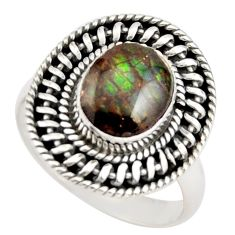 925 silver 3.13cts natural multi color ammolite solitaire ring size 7 r21449