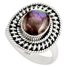 925 silver 3.35cts natural multi color ammolite solitaire ring size 7 r21457