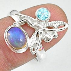 925 silver 2.81cts natural multi color ethiopian opal angel ring size 8 t8815