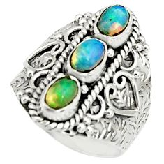 925 silver 3.37cts natural multi color ethiopian opal oval ring size 7.5 r22512