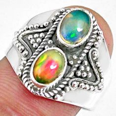 925 silver 3.13cts natural multi color ethiopian opal oval ring size 8.5 r59270