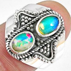 925 silver 3.13cts natural multi color ethiopian opal oval ring size 7.5 r59280