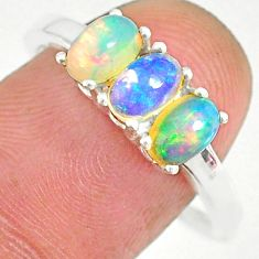 925 silver 2.73cts natural multi color ethiopian opal oval ring size 9.5 r83975