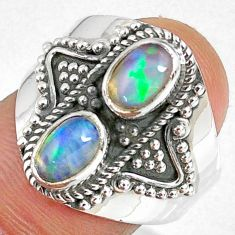 925 silver 3.13cts natural multi color ethiopian opal oval ring size 8 r59246