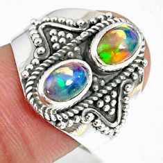 925 silver 3.19cts natural multi color ethiopian opal oval ring size 8 r59257