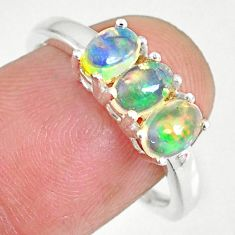 925 silver 2.70cts natural multi color ethiopian opal oval ring size 8 r83970