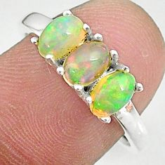 925 silver 3.15cts natural multi color ethiopian opal oval ring size 7.5 t8849