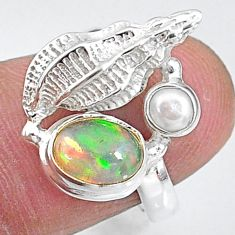 925 silver 2.46cts natural multi color ethiopian opal pearl ring size 6 t8820