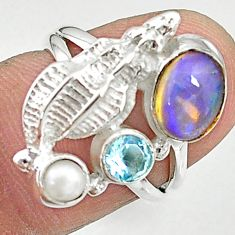 925 silver 3.42cts natural multi color ethiopian opal pearl ring size 6 t8832