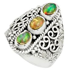 925 silver 3.39cts natural multi color ethiopian opal ring size 7.5 r22516