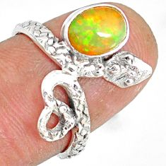 925 silver 2.08cts natural multi color ethiopian opal snake ring size 6.5 r78752