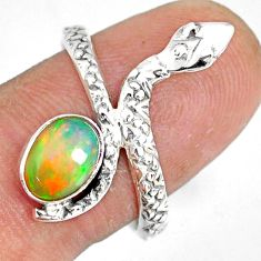 925 silver 1.94cts natural multi color ethiopian opal snake ring size 8.5 r78776