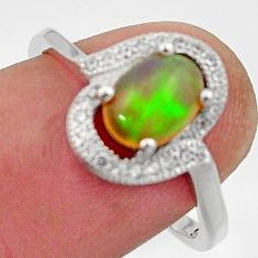 925 silver 3.42cts natural multi color ethiopian opal topaz ring size 7.5 c26309