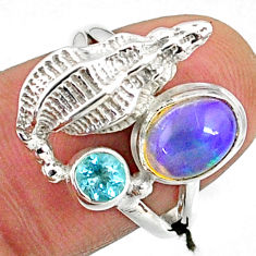 925 silver 2.53cts natural multi color ethiopian opal topaz ring size 6 r65577