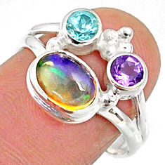 925 silver 3.87cts natural multi color ethiopian opal topaz ring size 7 r65564