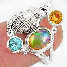 925 silver 3.04cts natural multi color ethiopian opal topaz ring size 7 r65573