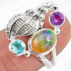 925 silver 3.56cts natural multi color ethiopian opal topaz ring size 7 r65575