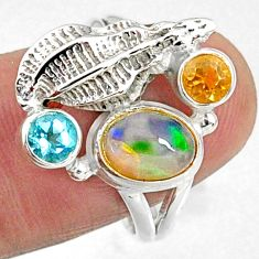 925 silver 4.02cts natural multi color ethiopian opal topaz ring size 8 r65578