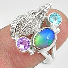 925 silver 3.16cts natural multi color ethiopian opal topaz ring size 7.5 t8834