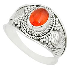 925 silver 2.14cts natural orange cornelian oval solitaire ring size 9 r81504