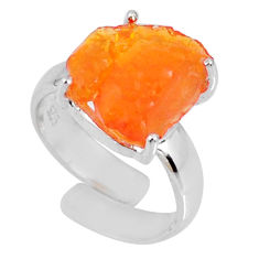925 silver 5.45cts natural orange mexican fire opal fancy ring size 4.5 r60178