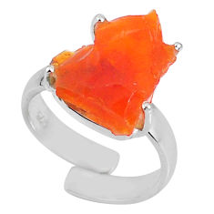 925 silver 6.93cts natural orange mexican fire opal fancy ring size 7 r60171