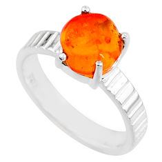 925 silver 4.02cts natural orange mexican fire opal solitaire ring size 6 r71724