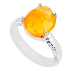 925 silver 5.11cts natural orange mexican fire opal solitaire ring size 7 r71750