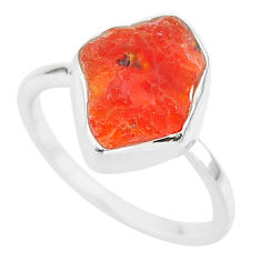 925 silver 4.90cts natural orange mexican fire opal solitaire ring size 7 r91660