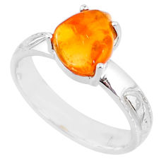 925 silver 4.28cts natural orange mexican fire opal solitaire ring size 8 r71735