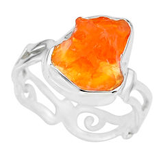 925 silver 5.82cts natural orange mexican fire opal solitaire ring size 8 r91669
