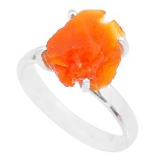 925 silver 5.86cts natural orange mexican fire opal solitaire ring size 9 r91588