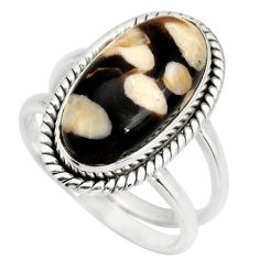 925 silver 5.75cts natural peanut petrified wood fossil ring size 7.5 r27264