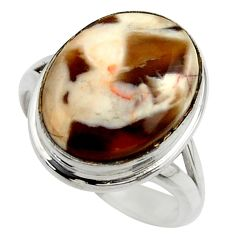 925 silver natural peanut petrified wood fossil solitaire ring size 7 r28684
