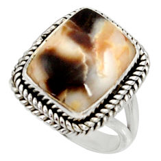 925 silver natural peanut petrified wood fossil solitaire ring size 8 r28164