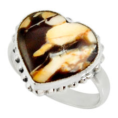 925 silver natural peanut petrified wood fossil solitaire ring size 8 r28171