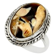 925 silver natural peanut petrified wood fossil solitaire ring size 8 r28688